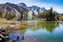 Unnamed lake in Born Lakes Basin White Cloud Wilderness Idaho  captured