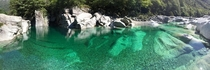 Unreal green river in Lavertezzo Switzerland