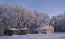 Unused grainery in north west South Dakota on a winter morning