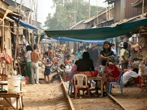 Unused track serving as a market in Cambodia