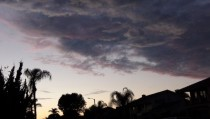 Unusual ominous clouds at dusk over Placentia California