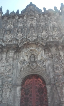 Up close image of the Mexico City Metropolitan Cathedral Built in sections the Cathedral took around  years to complete incorporating many different architectural styles