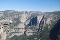Upper and Lower Yosemite Falls from above