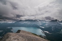 Upper Kananaskis Lake under the clouds in AB Canada - from the summit of Mt Indefatigable OC