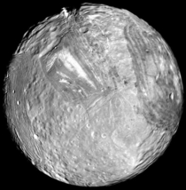Uranian Moon Miranda as seen in  by Voyager