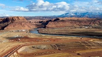 Uranium mill tailings pile cleanup along the Colorado River near Moab Utah