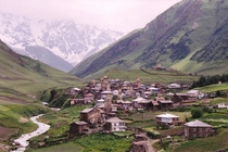 Ushguli village dotted with towers x