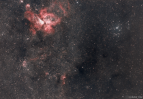 Using a specialised filter I was able to cut through my cities light pollution and capture the Carina nebula