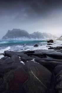Uttakleiv Beach Norway during a winter storm
