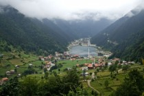 Uzungol Lake and Town in Trabzon Turkey