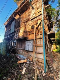 Vacant Japanese home being held together with scrap wood and vines