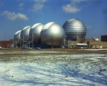 Vacuum spheres of Langleys Hypersonic Facilities Complex dusted by a light fall of snow