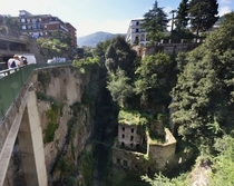Valley of the Mills a group of overgrown ruins in a crevasse at the center of Sorrento Italy