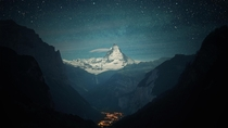 Valley of the Stars - The Matterhorn as seen from the Lauterbrunnen valley   other resolutions including mobile in comments Originally photographed by Dominic Kamp