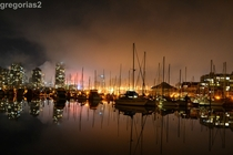 Vancouver Canada Foggy night at a marina in False Creek