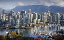 Vancouver Canada with marina and mountains