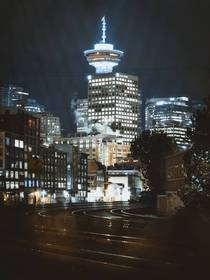 Vancouvers Harbour Tower at night