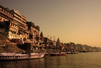 Varanasi along the Ganges in the evening