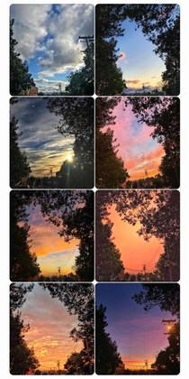 Variations of the sky around the same corner of my neighborhood Oakland CA OC