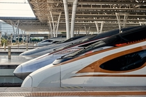 various generations of Chinese CRH high-speed trains at Shanghai Hongqiao today