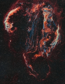 Veil Nebula x Panel Mosaic - HaOIII bi-colour with RGB stars   Hours of Integration Time