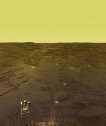 Venera  spent  minutes on Venus  before getting crushed by the hellish environment the lander sent us this unique colored image of the surface