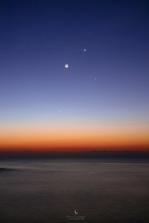 Venus Mercury and the Waning Moon by Kevin Sargozza
