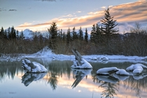 Vermillion Lakes in Banff National Park the natural spring has been dammed by Beavers creating the reflecting pond by John Andersen