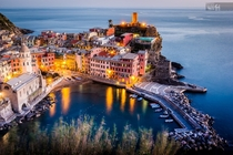 Vernazza Cinque Terre Liguria Italy Shot taken after sunset from a high point of view in the Ligurian hills says photographer Francesco Riccardo Iacomino