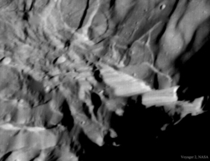 Verona Rupes on Uranus moon Miranda is the tallest known cliff in the solar system Its estimated to be  kilometres deep The image was captured by the passing Voyager  robotic spacecraft in  Credit NASA Voyager