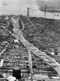 Verrazano-Narrows Bridge and Brooklyn approaches under construction in
