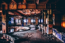 Vibrant yet desolate interior of abandoned brewery