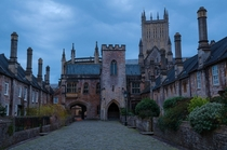 Vicars Close in Wells Somerset England claimed to be the oldest purely residential street with original buildings surviving intact in Europe