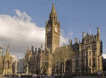 Victorian era Gothic revival architecture Manchester Town Hall in Albert Square