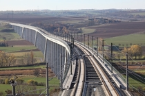 View along the km long Unstrut Viaduct part of the high-speed railway between Erfurt and Leipzig Germany