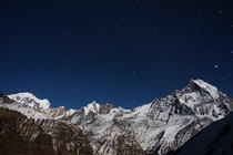View at Annapurna Base Camp Nepal on a moonlit night x