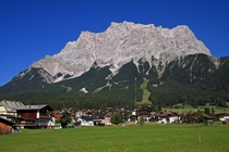 View at the mountain Zugspitze from the Austrian village Ehrwald