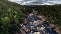 View from a bridge along the Trans-Labrador highway NL Canada
