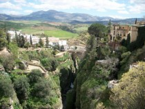 View from a bridge in Ronda Spain -