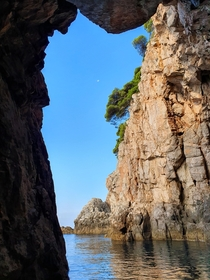 View from a cave in the Adriatic Sea near Pobreje Dubrovnik