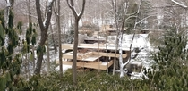 View from a Different Angle of Frank Lloyd Wrights Fallingwater During a Winter Walk Tour