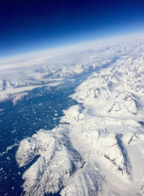 View from a plane of Greenland