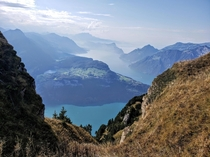 View from atop Klingenstock Schwyz Switzerland