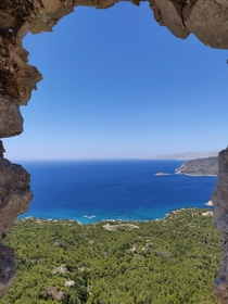 View from castle of Monolithos Rhodes Greece