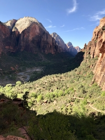 View from half way up the Angels landing hike in Zion