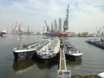 View from Hertel HQ over Botlek dock Rotterdam Harbour