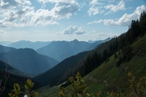 View from Hidden Lake trail Washington State on a sunny summer day