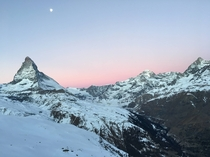 View from my hotel room balcony of the Matterhorn at sunrise  x