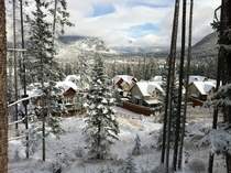 View from my porch in  after the first snowfall of the season - Banff Alberta -