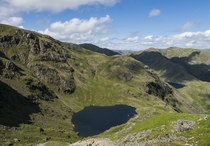View from Old Man of Coniston Lake District UK